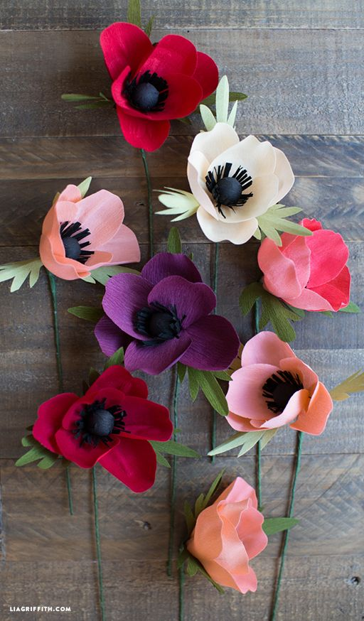 Crepe Paper Anemone tutorial by Lia Griffith. #crepepaperrevival