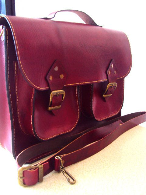 Red Leather Laptop Bag with pockets ,Briefcase ,Messenger Bag ,Shoulder Bag ,Satchel ,for men ,for women ,unisex ,fathers day