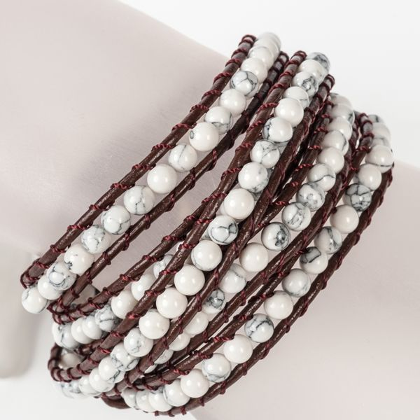 BROWN/WHITE 5 ROW WRAP #BRACELET JKW5002BRWH #jacquelinekent #ksajewelry #jacquelinekentjewelry