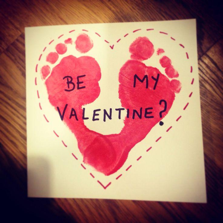 Childs footprint heart. Valentine's Day card. Be my Valentine? X