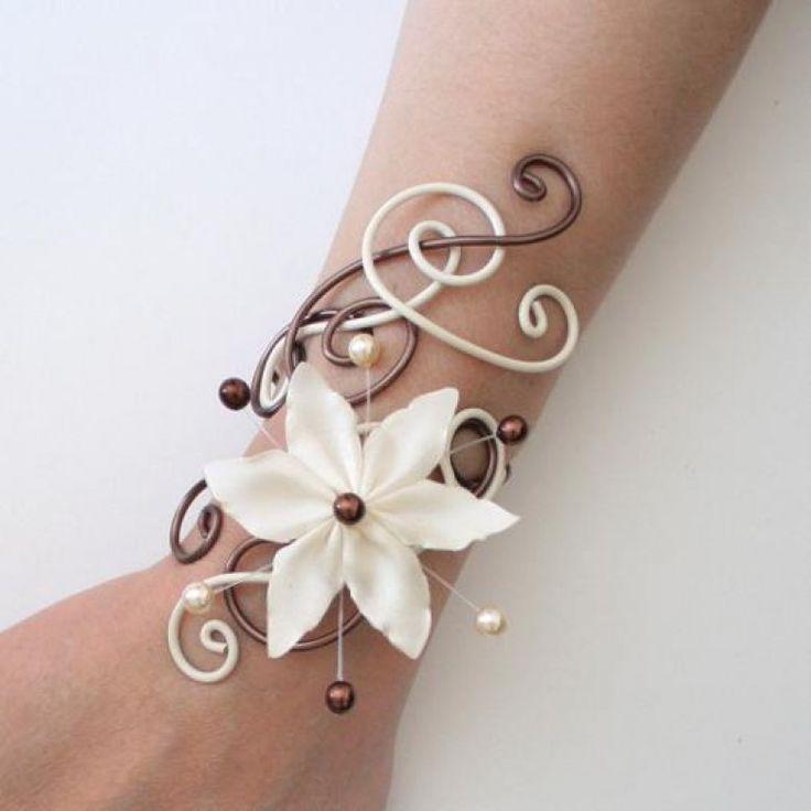 bracelet mariage ivoire et chocolat fleur bra233. Black Bedroom Furniture Sets. Home Design Ideas