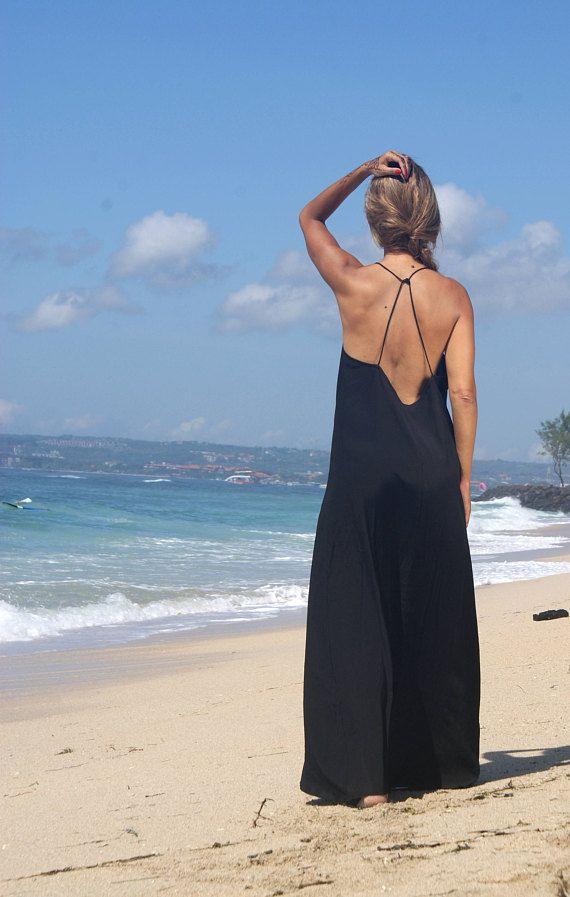 Backless Maxi Dress/Summer Maxi/bohemian backless dress/Beach