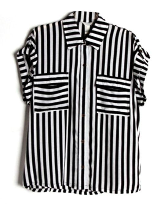 Black White Stripe Contrast Color Short Sleeves T-shirt