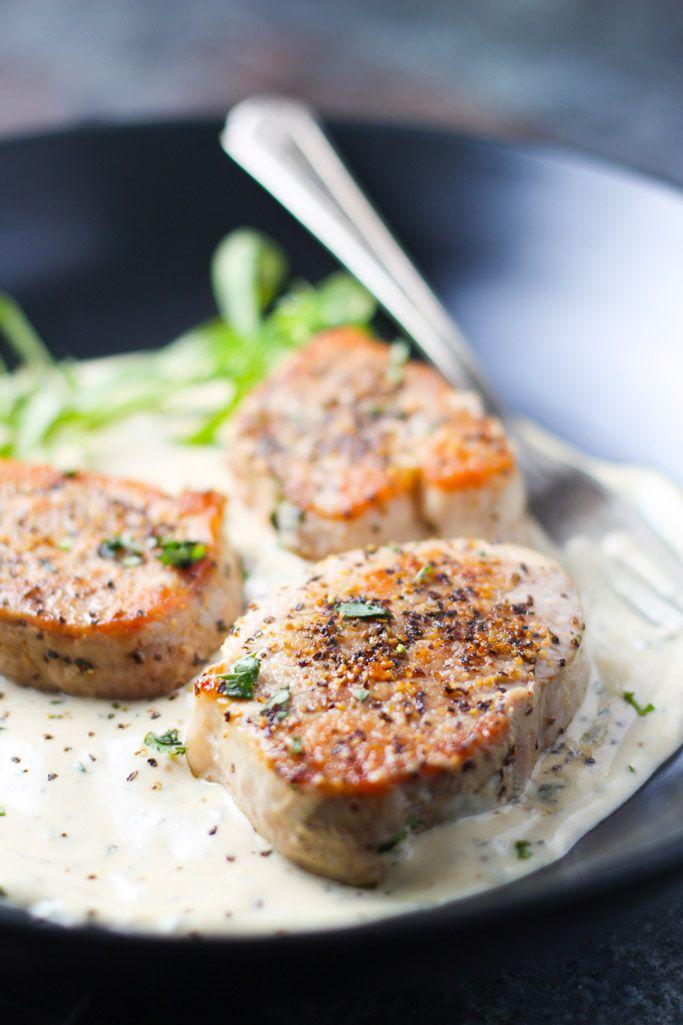Pork Medallions with Tarragon Cream Sauce - A delicious 30 minute meal | platingsandpairings.com