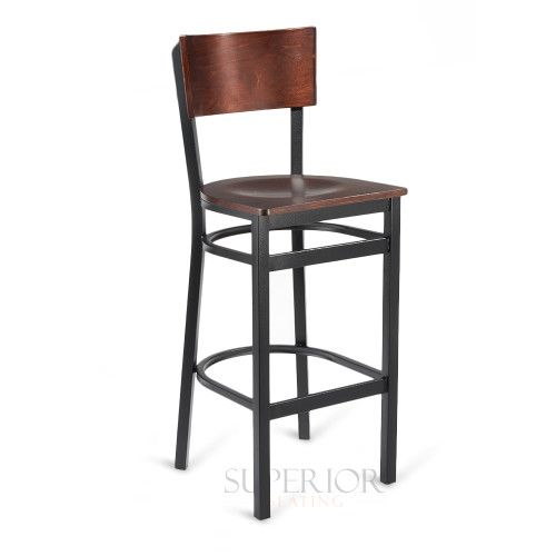 Black Metal Commercial Bar Stool with Square Dark Mahogany Veneer Seat and Back
