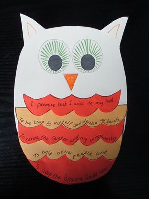 Week 3 activity for Brownies - making a promise owl - get Brownies to add one of their own promises too!