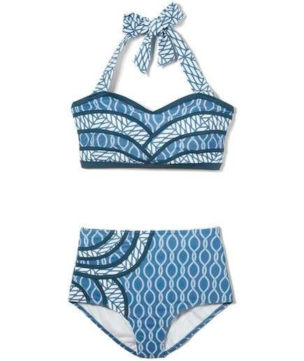 4e4b75fdde9 Modcloth Set The Serene Bikini | An all around winner, these high-waisted  bottoms work like Spanx to provide control from the navel down, while a  fuller cut ...