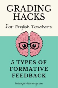 This fourth blog post in a series on grading hacks for English teachers focuses on five types of writing feedback and how to use them effectively during class to promote student revision and responsibility. https://lindsayannlearning.com/writing-feedback-types/