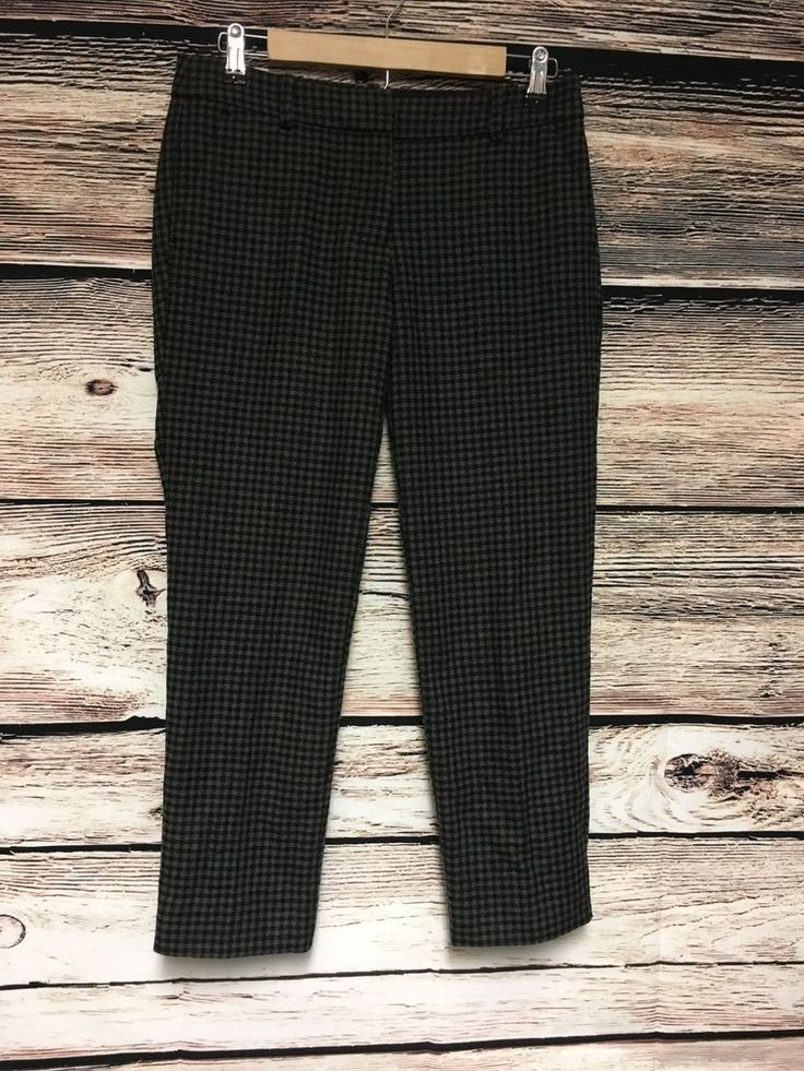 J Crew Factory Size 2 Skimmer Pants Wool Blend Houndstooth Cropped #JCrew #CaprisCropped