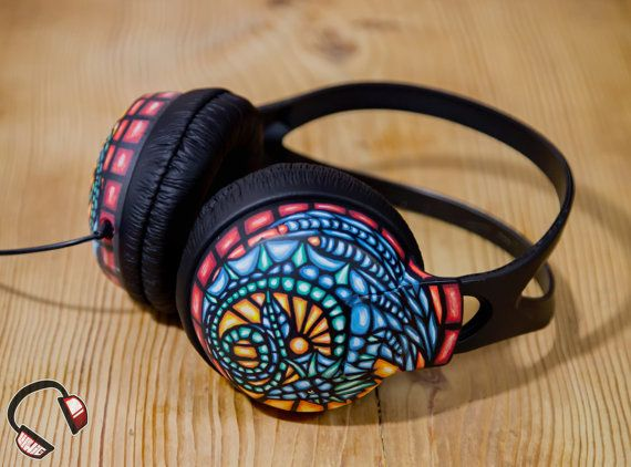 Stained glass dragon handpainted headphones by Lipwigs on Etsy