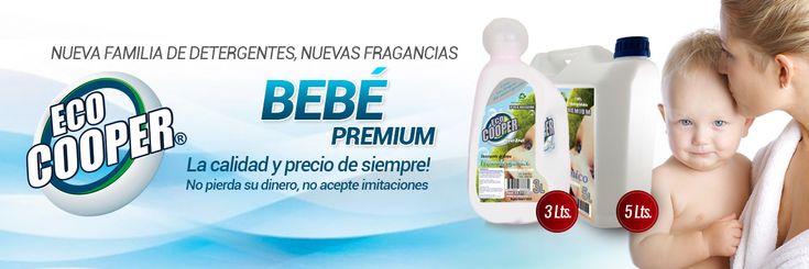 Detergentes Premium EcoCooper. Toda la línea es Eco-Amigable y hipoalergénica. Con Ph neutro, incorpora en su formulación un suavizante de telas.