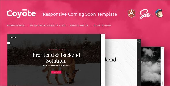 Coyote – Responsive HTML5 Coming Soon Template. Fullview: https://themeforest.net/item/coyote-responsive-html5-coming-soon-template/16716686?ref=thanhdesign