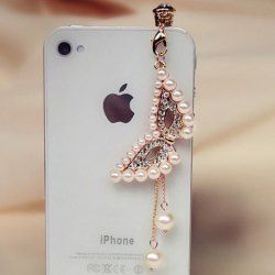 $3.05 New Arrival Fashionable Style Faux Pearl and Rhinestone Embellished Mask Shape Cellphone Dustproof Plug