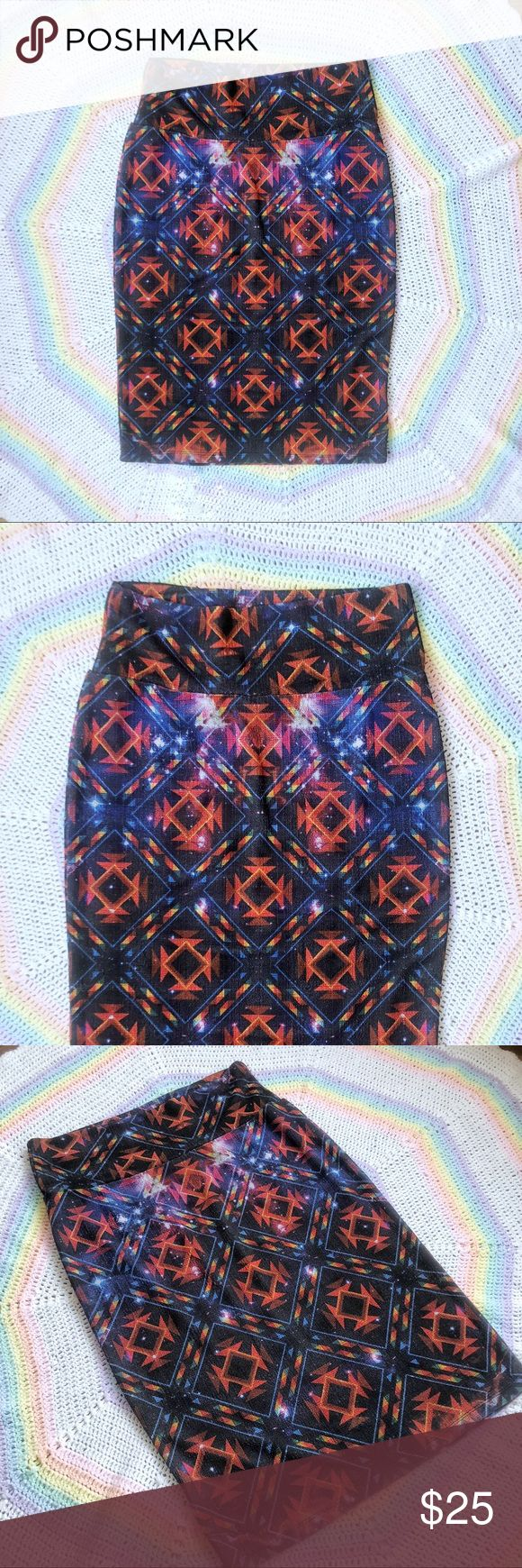 Like New🌈LuLaRoe Psychedelic Galaxy Rainbow Midi Super fun tube skirt by LuLaRoe! Bright, show-stopping, geometric galaxy fabric is a perfect fit to the simplicity of the bodycon design. Super stretchy, spandex blend material. Forgiving & hugs all the right places :) In like new condition! Worn once. Great piece! Offers welcome 🌟🌈🍄   Tags: vintage retro trippy rave raver y2k Lululemon mini skirt LuLaRoe Skirts Pencil