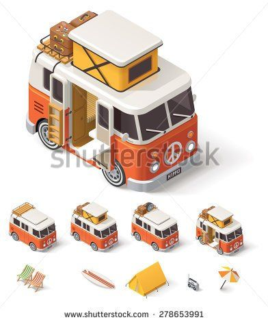 Vector isometric icon set representing camper van, baggage, tourist and travel equipment - tent, deck chairs, umbrella, surfing boards, stereo player