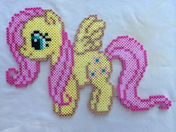 Fluttershy - My Little Pony Friendship is Magic perler beads by PrettyPixelations