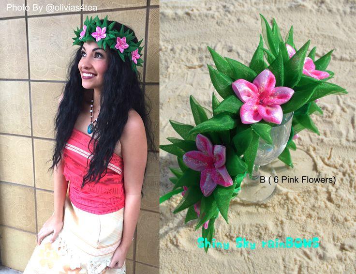 1 Disney Moana Inspired Flower Crown - Moana Flowers, Disney Bound, Moana Flower Crown, Moana Headband, Moana Hair Bow, Moana, Haku Lei, Bow by ShinyskyrainBOWS on Etsy https://www.etsy.com/listing/490976946/1-disney-moana-inspired-flower-crown