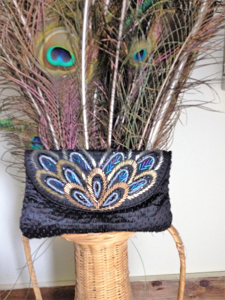 Vintage Clutch Magid Peacock Hand Beaded /Made in Macau/ Free Shipping! by SamsAtticTreasures on Etsy