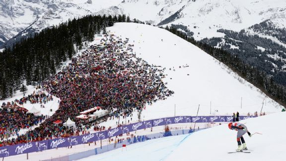 Bode Miller - 6 time Olympic medalist in Alpine Skiing during a World Cup race in Switzerland in January 2014.