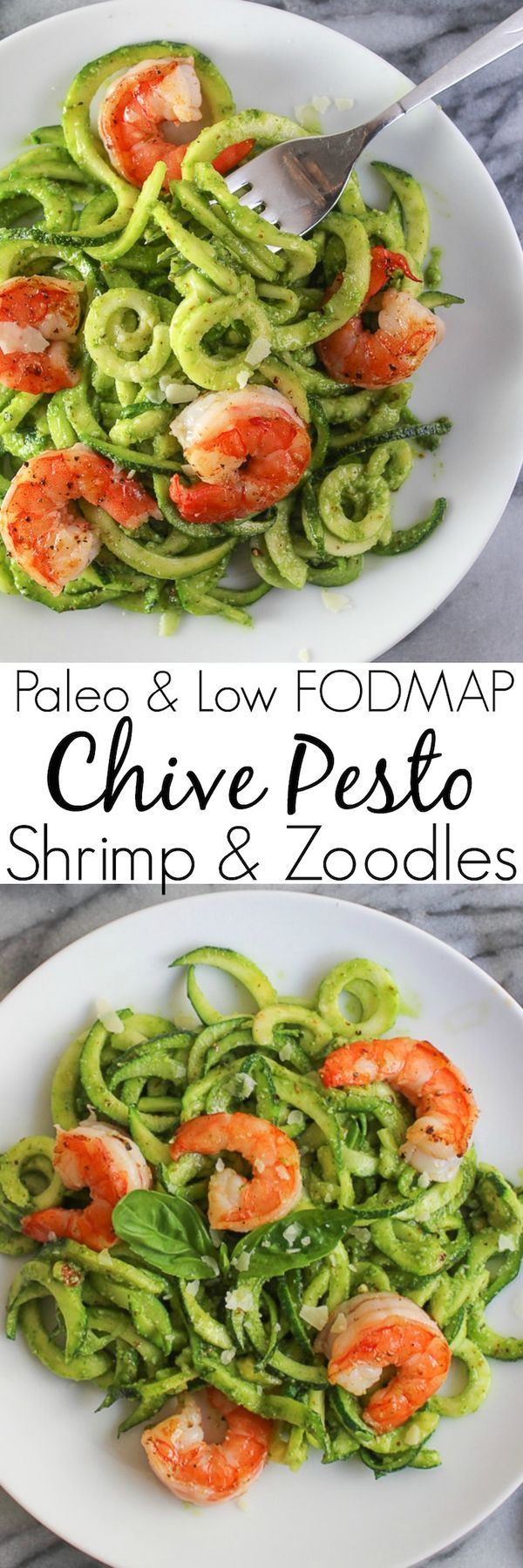 Chive Pesto Shrimp & Zoodles - paleo, low FODMAP, and whole 30 approved