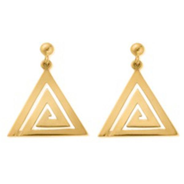 ChloBo Sun Dance Aztec Triangle Dangle Earrings - Gold ($77) ❤ liked on Polyvore featuring jewelry, earrings, accessories, gold, long triangle earrings, triangular earrings, yellow gold earrings, gold jewellery and long gold earrings