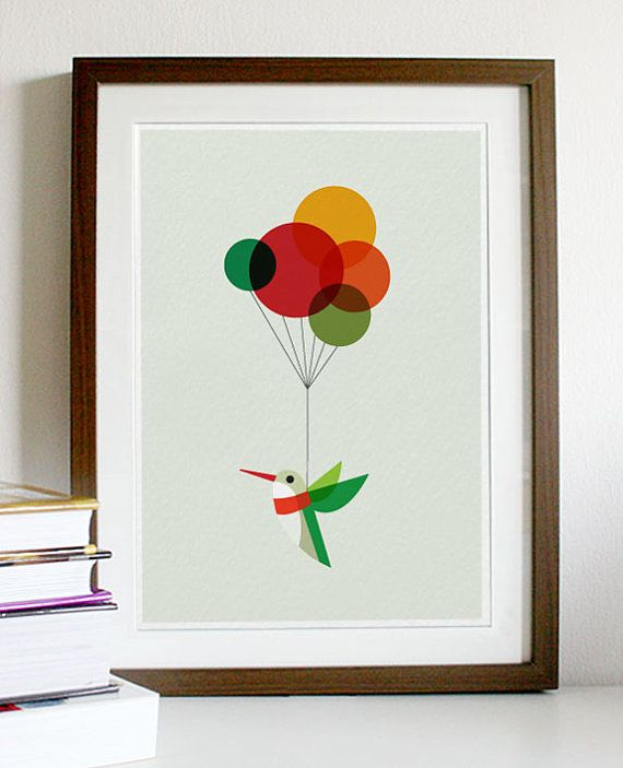 Hummingbird with Colourful Balloons  A3 Print by Posterinspired, $18.00
