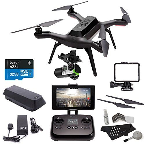 • 3DR DRONE: 3DR Solo Drone Quadcopter PREMIUM RITZ CAMERA BUNDLE KIT INCLUDING: • INCLUDED IN THE DRONE BOX: Solo Transmitter Remote Control, Solo Flight Battery, Flight Battery Charger, GoPro Lens Hood Frame • GIMBAL: 3D Robotics GB11A 3DR Solo Gimbal (Black) . . . read more . . . pls repin