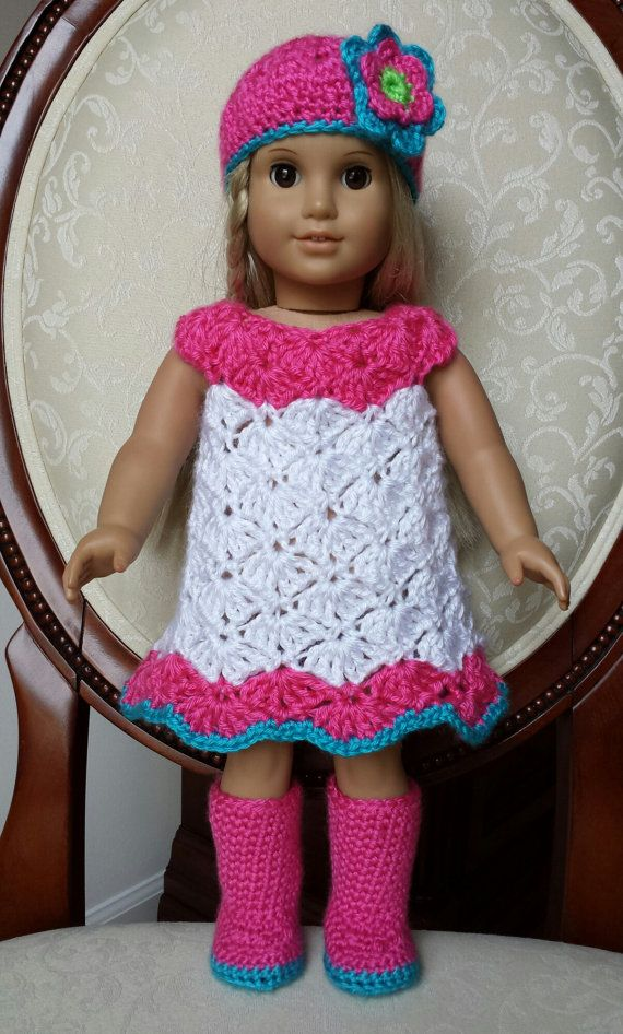 """Crocheted American Girl 18"""" Doll Dress Outfit Clothes Boots Set, No Crochet Pattern"""