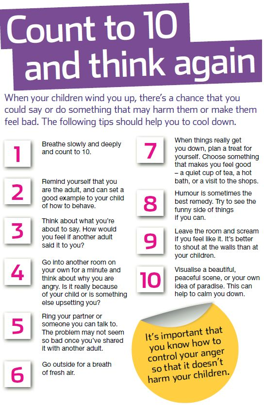 Being a parent is rewarding but can be challenging too. Here are our top 10 tips to help you calm down when you are feeling angry. For more advice on managing stress see the NSPCC guide here: http://www.nspcc.org.uk/help-and-advice/for-parents-and-carers/guides-for-parents/keeping-your-cool/keeping-your-cool_wda90712.html