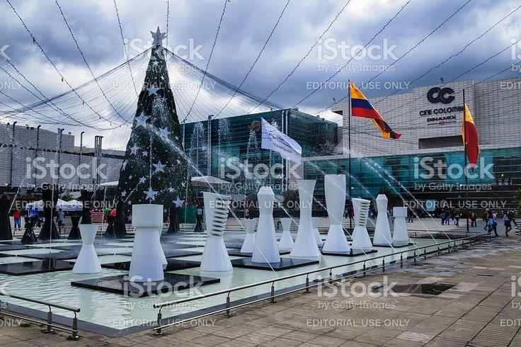 Bogotá Colombia: Christmas tree and fountain; Centro Comercial Gran Estación royalty-free stock photo