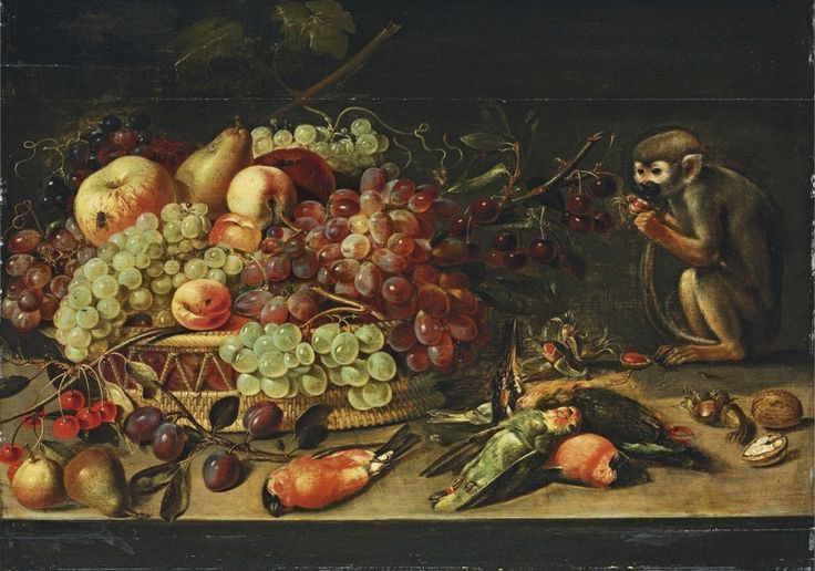 Clara Peeters, Still life vith fruits in a basket, dead birds and a monkey, ca. 1615-1621. Oil on panel, 47.4 cm x 65.5 cm. Antwerpen, private collection.
