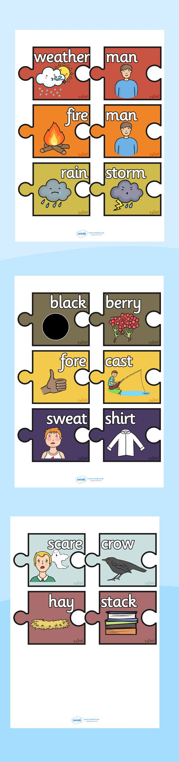 Twinkl Resources >> Autumn Compound Words Matching Activity >> Printable resources for Primary, EYFS, KS1 and SEN. Thousands of classroom displays and teaching aids! Topics, Autumn, Compound Words, Matching Cards, Activities