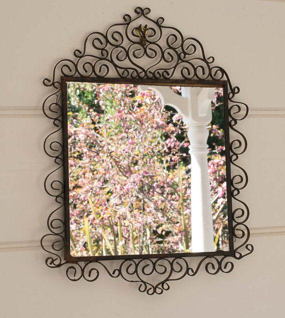 Wrought Iron Mirror Rustic Decor Vintage Black Frame on