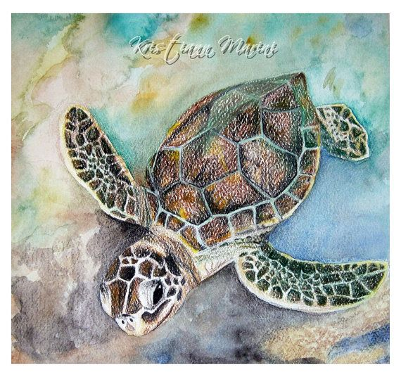 Just Swim sea turtle watercolor painting by LoveJoyPeaceDesigns