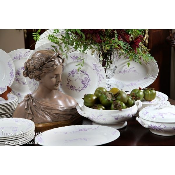 Antique Accessories | Antique China/Ceramics | Antique Set of Purple and White China | www.inessa.com