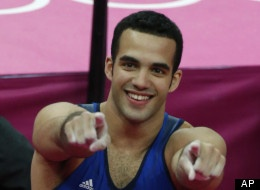 Danell Leyva - U.S. gymnast Danell Leyva celebrates winning the bronze medal during the Artistic Gymnastic men's individual all-around competition final at the 2012 Summer Olympics, Wednesday, Aug. 1, 2012, in London.