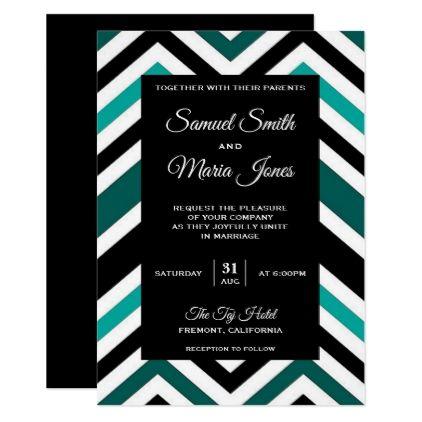 Modern Black and Teal Chevron Wedding Invitation - elegant wedding gifts diy accessories ideas