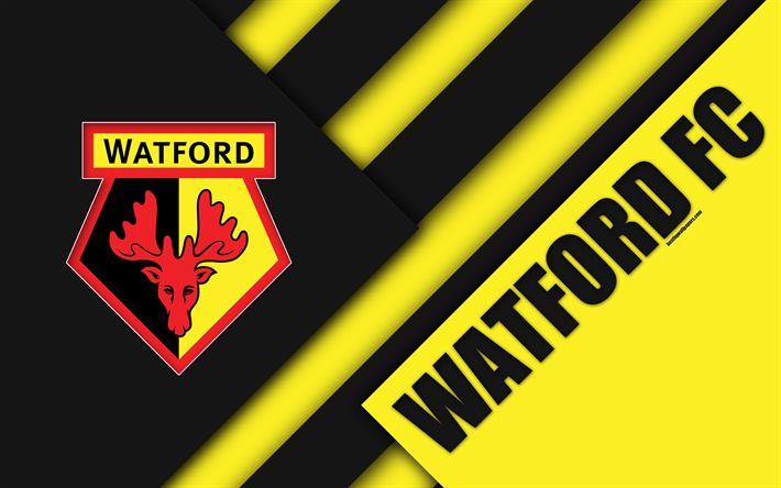 Download wallpapers Watford FC, logo, 4k, material design, yellow black abstraction, football, Watford, UK, England, Premier League, English football club