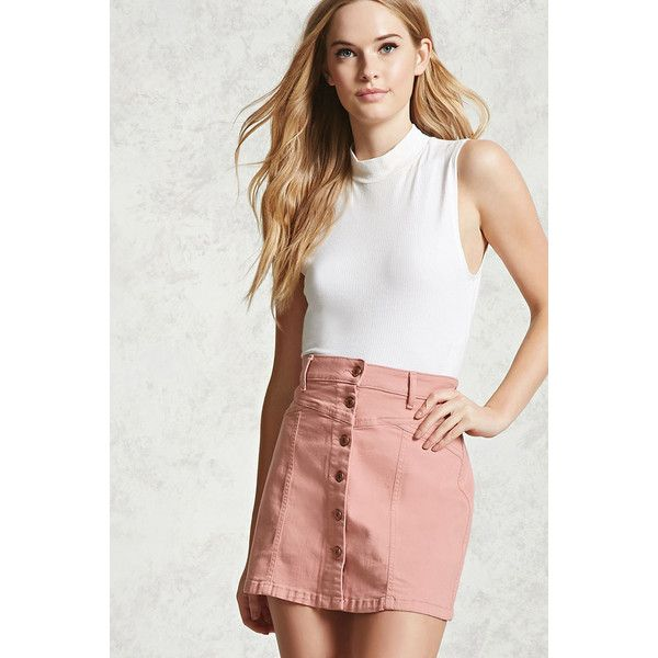 Forever21 Button-Front Denim Skirt ($20) ❤ liked on Polyvore featuring skirts, mini skirts, pink, short mini skirts, denim miniskirt, a line denim skirt, forever 21 skirts and a-line skirt