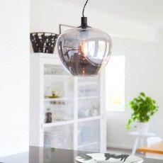 Smokey grey glass pendant in a Scandinavian living room - Bellissimo / Sessak
