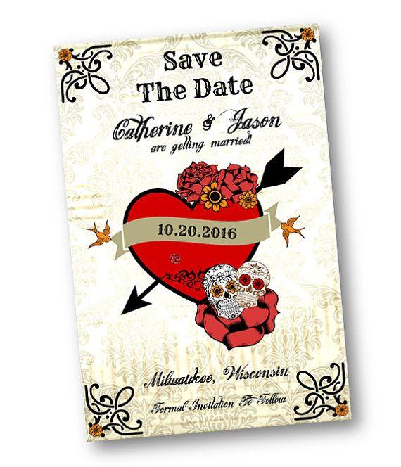 Skull Wedding Rockabilly Invitation Save The Date Card Digital Download Rockabilly Tattoo