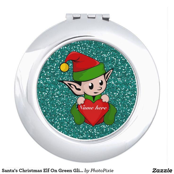 Santa's Christmas Elf On Faux Green Glitter