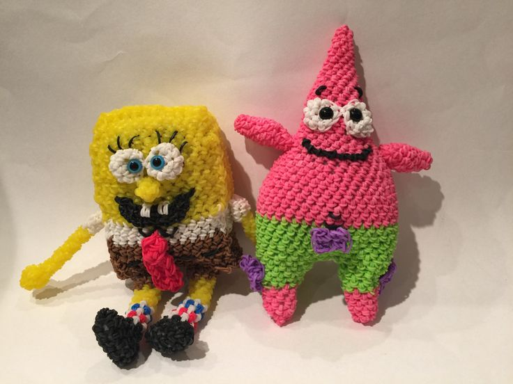 SpongeBob SquarePants & Patrick Star Rubber Band Figure | Amigurumi | Loomigurumi by BBLNCreations on Etsy Loomigurumi Amigurumi Rainbow Loom