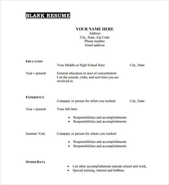 Download Free Blank Resume Forms Download Form Free Resume Doc Resume Form Downloadable Resume Template Sample Resume Format