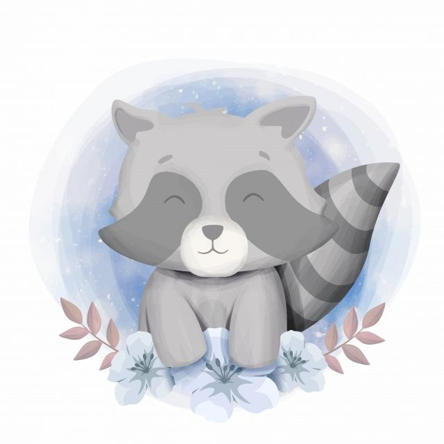Cute Baby Raccoon Smile Portrait Illustration Raccoon Clipart Adorable Animal Png And Vector With Transparent Background For Free Download Cute Drawings Baby Illustration Baby Raccoon