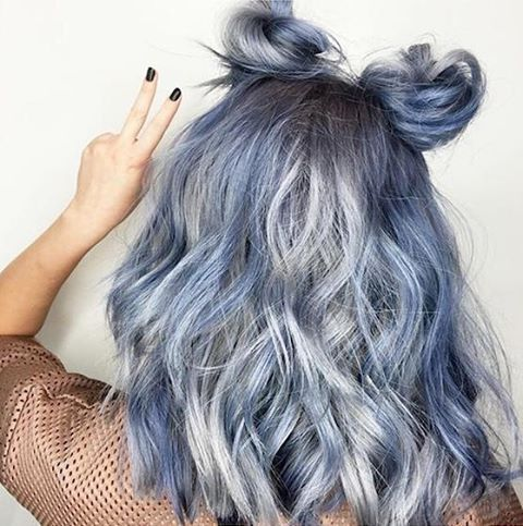 Love this style & color by @candicemarie702! She used #kenracolor 7VM + 8VM + 3 inches of violet booster on the base, alternated 7SM + 8SM, 7SM + 8SM + 2 inches of Blue Booster and 7SM + 8SM + 1/4 oz of Blue Booster on the mid-strands to ends.