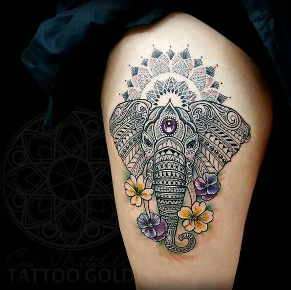 Elephant tribal tattoo