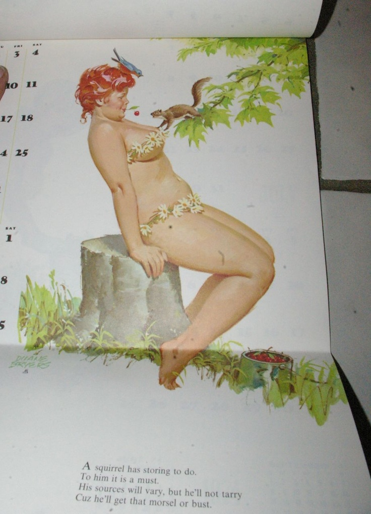 1974 Hilda Full Year Pin Up Calendar Duane Bryers By stove with Goat & Squirrel | eBay