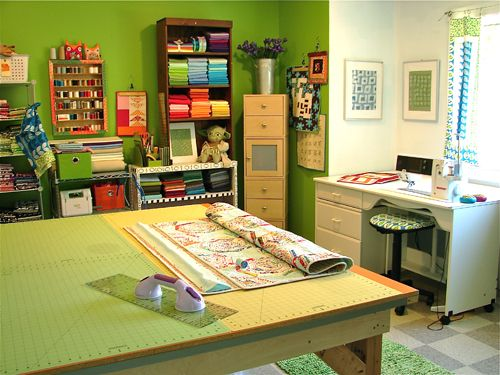 Sewing roomCrafts Sewing Room, Room Crafts, Room Colors, Cutting Tables, Craftroom Letspinsomethingwond, Crafts Room, Sewing Rooms, Room Craftroom, Cut Tables