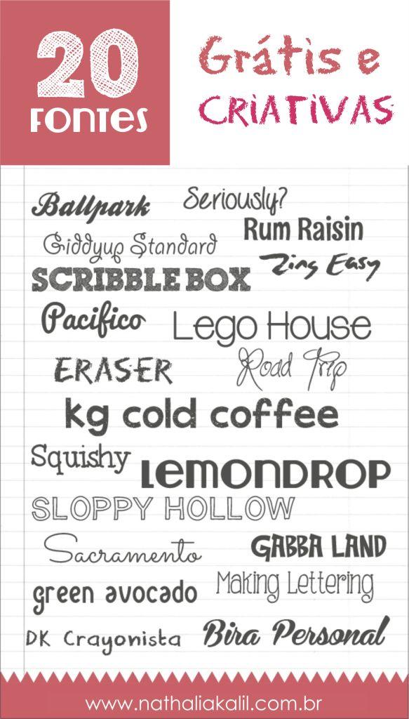 20 fontes grátis e criativas para baixar já! | http://nathaliakalil.com.br/20-fontes-gratis-e-criativas/